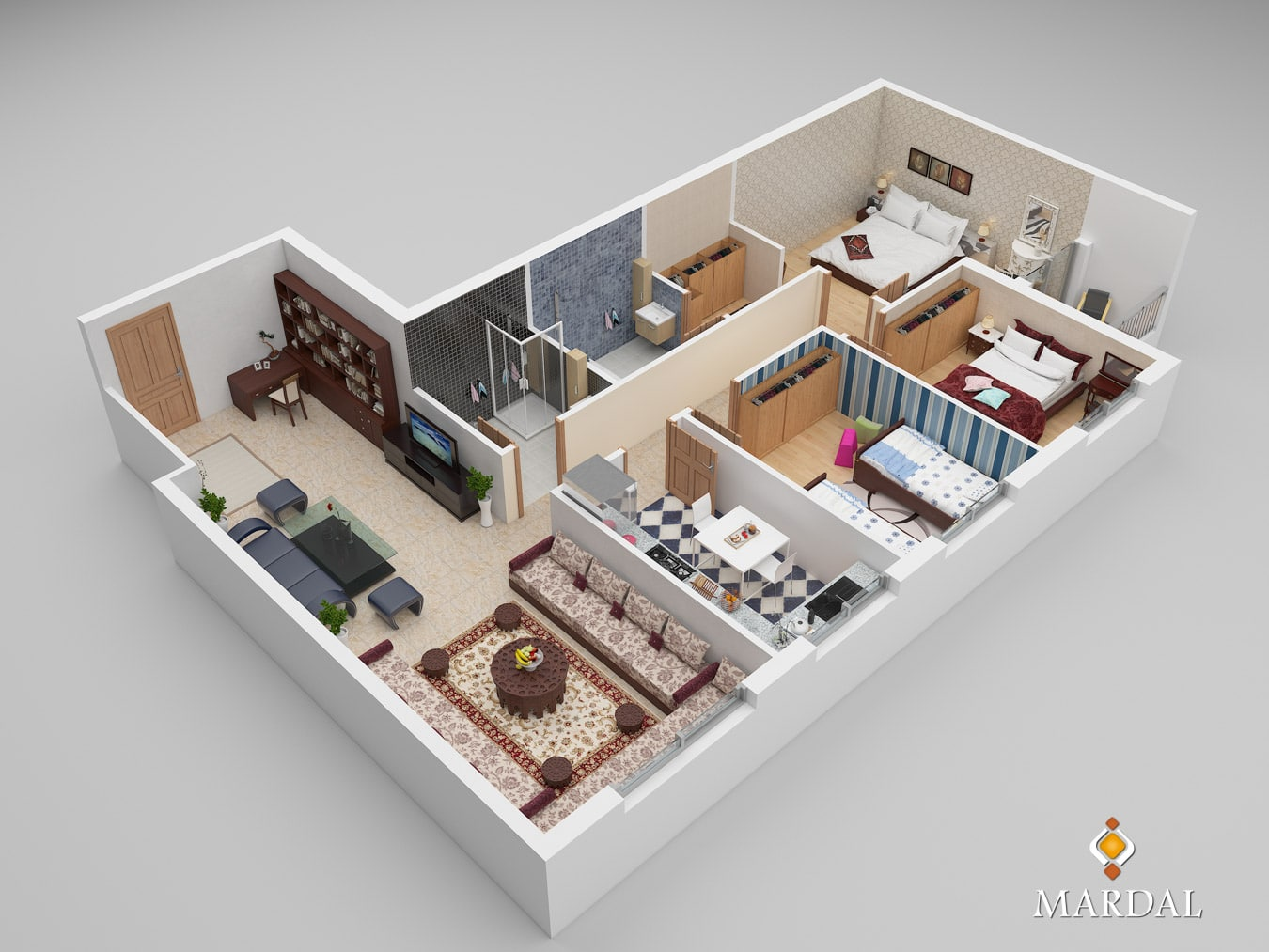 Apartment Overview Cutted - 3D Modeling, Visualization and Interactive Apps - Copyright Mardal S.A.R.L.