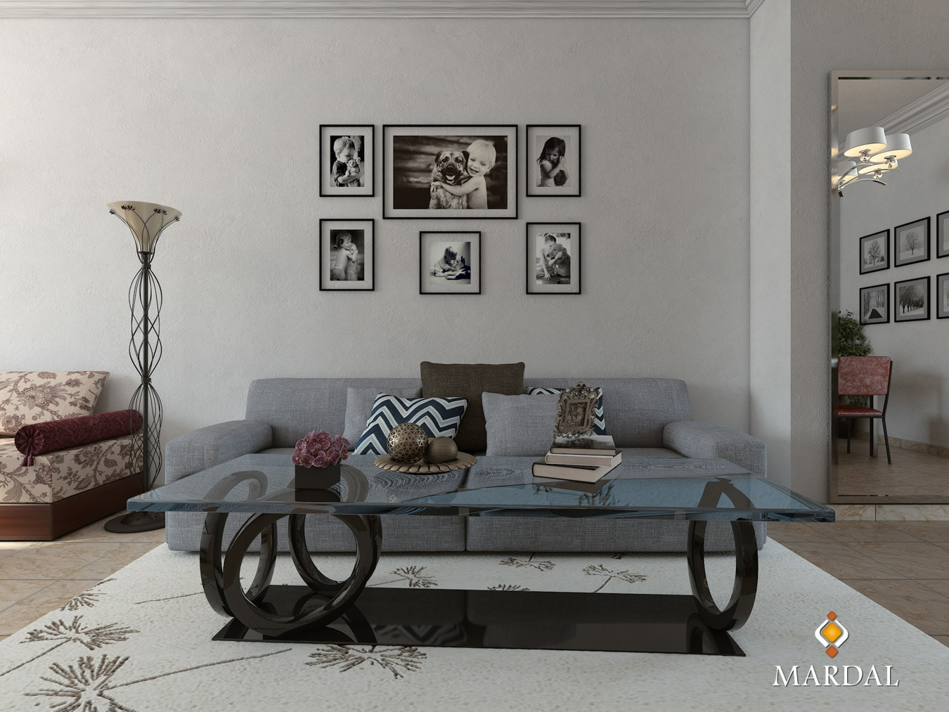 Apartment Interior Table Sofa Salon - 3D Modeling, Visualization and Interactive Apps - Copyright Mardal S.A.R.L.