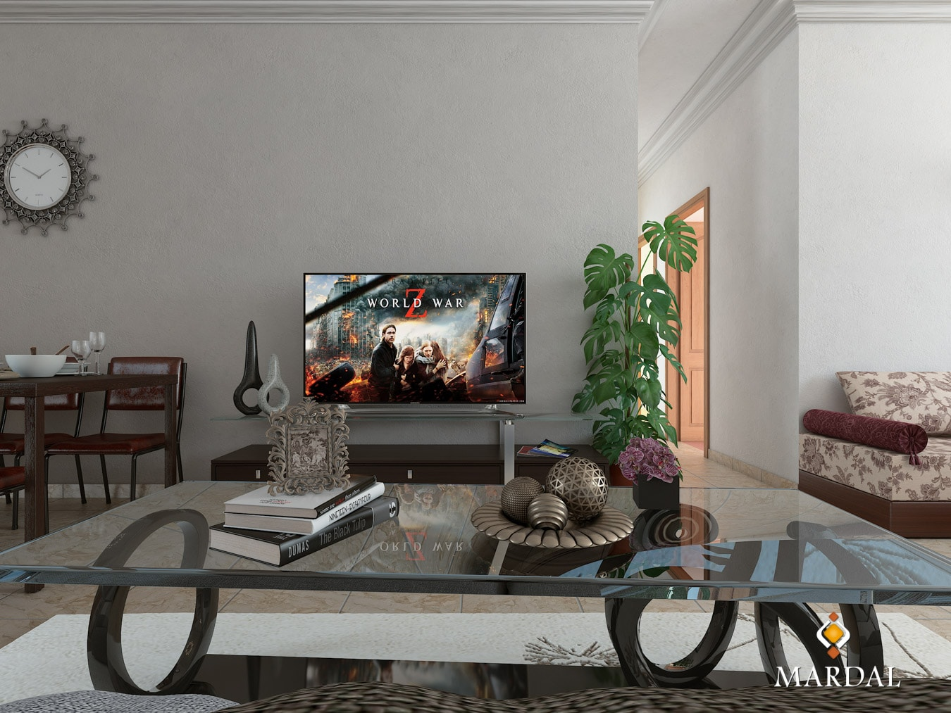 Apartment Interior Table TV - 3D Modeling, Visualization and Interactive Apps - Copyright Mardal S.A.R.L.