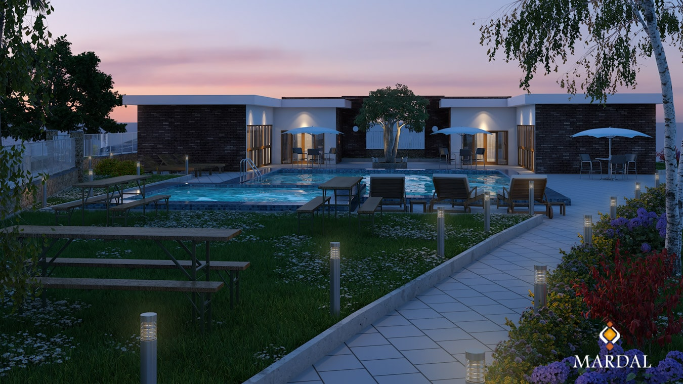 Exterior Pool Sunset - 3D Modeling, Visualization and Interactive Apps - Copyright Mardal S.A.R.L.